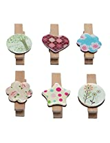 Wooden Clips Set of 6 Decorative Colour Full ...collection Flower Star