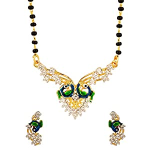 Voylla Endearing Peacock Inspired Single Chain Mangalsutra Set With CZ Stones
