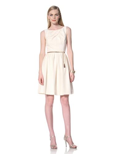 Ellen Tracy Women's Sleeveless Pleat Neck Dress (Vanilla)