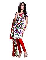 Anvi Creations Cream Orange Spun Cotton Dress Meterial (Cream Orange_Free Size)