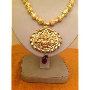 Necklaces - Kempu temple jewellery antique Gaja Laxmi necklace gold plated
