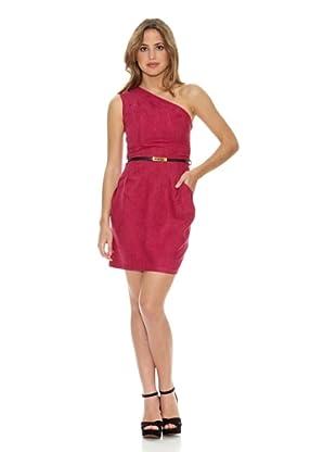 RARE Vestido One Shoulder Suede (Rosa)