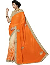 Graceful Georgette And Chiffon Orange Half & Half Saree with Blouse
