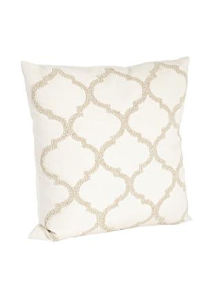 Saro Lifestyle Vanilla Moroccan Design Beaded Pillow