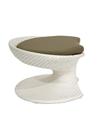 100 Essentials Party All-Weather Footstool, Cream/Clay