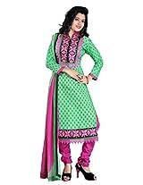 FadAttire Chanderi Salwar Kameez Dress Material-Green-FASE03