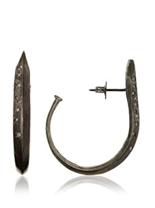 Made Her Think Oxidized Silver and Diamond Large Knife Edged Hoops