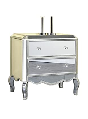Camille 2-Drawer Mirrored Cabinet, Silver Leaf