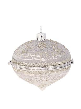 Raz Silver Glittered Kismet Box Ornament I
