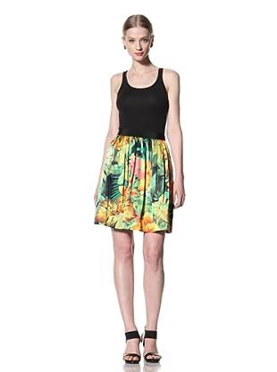 Pink Tartan Women's Tropical Gathered Skirt (Green/Yellow/Orange)