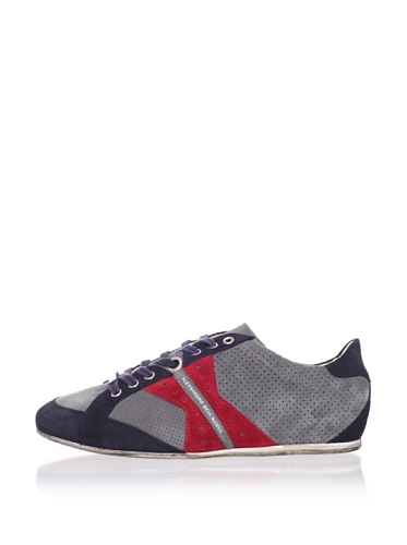 Alessandro Dell Acqua Men's AX Perforated Sneaker (Grey/Blue/Red)