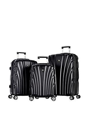 Olympia Vortex 3 Piece Hardcase Luggage Set With TSA Lock, Shadow Black