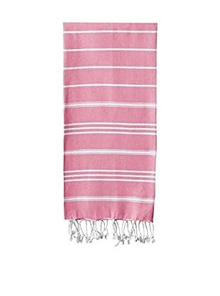 Nine Space Stripe Turkish Fouta Hand Towel, Pink
