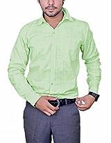 Mc-John Mens Linen Formal Shirt -Light Green -Medium
