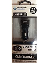Xtreme Cables 2.4A 2 Port Car Charger for USB Devices - Retail Packaging - Black