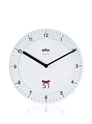 Braun Wanduhr LCD Sekunden Datumsanzeige weiß