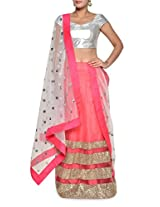 Gold trimmed pink lehenga set