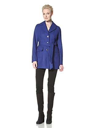 Calvin Klein Women's Single-Breasted Belted Coat (Cobalt)