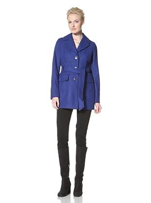 Calvin Klein Women's Single-Breasted Belted Coat (Cobalt)