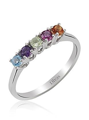 Divas Diamond Anillo Piedras Preciosas Coloridas (Plata)