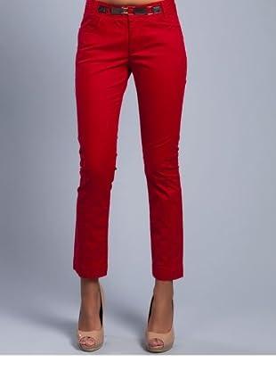 Cortefiel Hose mit Gürtel (Rot)