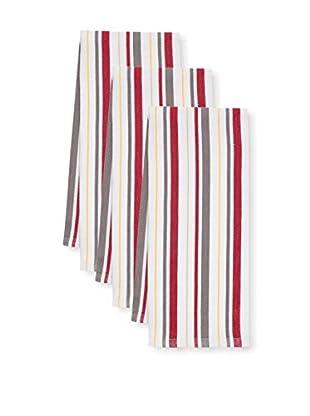KAF Home Set of 3 Basket Weave Kitchen Towels, Pewter/Cherry