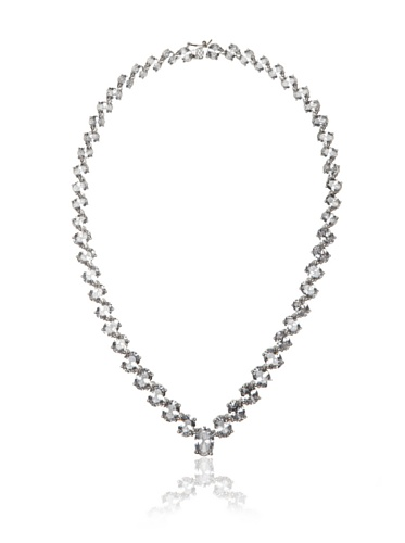 CZ by Kenneth Jay Lane Rhodium-Plated Clear Oval Cubic Zirconia Eternity Necklace
