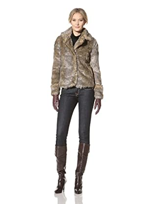 CoffeeShop Women's Faux Fur Jacket (Brown)