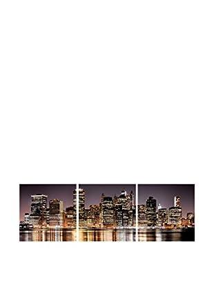 SuperStudio Leinwandbild 3 tlg. Set Light City River