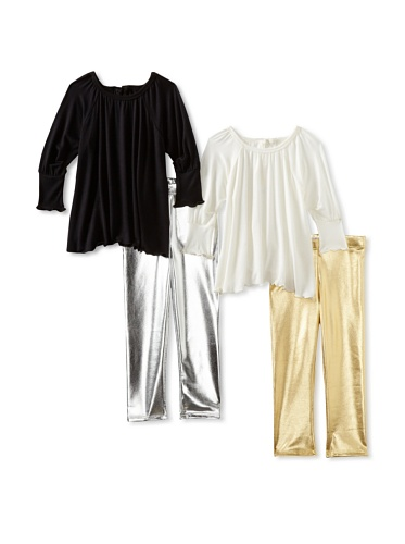 Ivy & Olivia Girl's Button Back Tunic and Foil Legging 4-Piece Set (Multi)