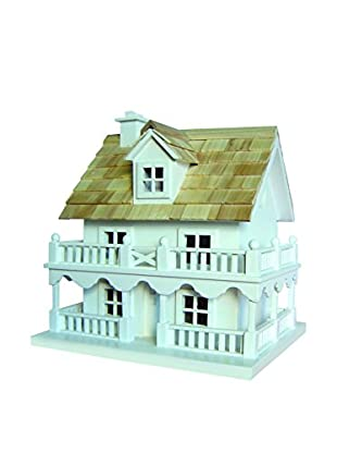 Home Bazaar Novelty Cottage Birdhouse with Bracket, White/Natural