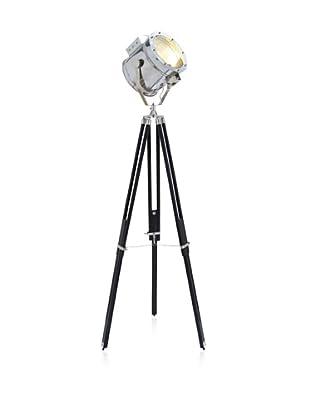 UMA Metal & Wood 1-Light Spotlight, Silver/Black