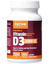 Jarrow Formulas Vitamin D3, 2500IU, 100 Softgels
