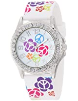 Frenzy Kids' FR801B Peace Print White Analog Watch