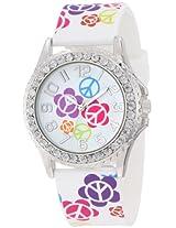 Frenzy Kids' FR801B Peace Print White Analog Watch