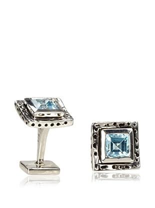 Rotenier Blue Topaz Hammered Square Cufflinks, Antiqued Silver