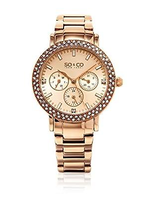 SO & CO New York Reloj con movimiento cuarzo japonés  Rosado 38 mm