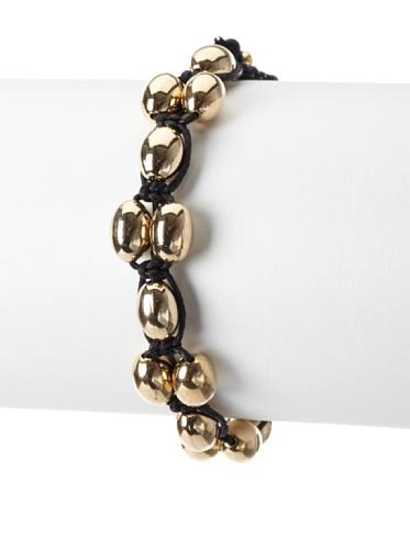 Shashi Coconut Adjustable Bracelet, Yellow Gold/Black