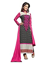 Slassy Womens Georgette Dress Material (14674 -Black, Pink, White -Free Size)