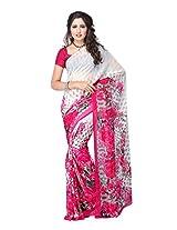 Fabdeal White & Pink Chiffon Printed Saree Sari Sarees