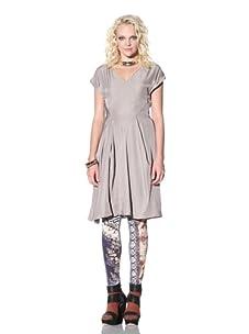 Gary Graham Women's V-Neck Twill Dress (Light Gray)