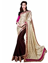 Shoppingover festival partywear saree in Brown color