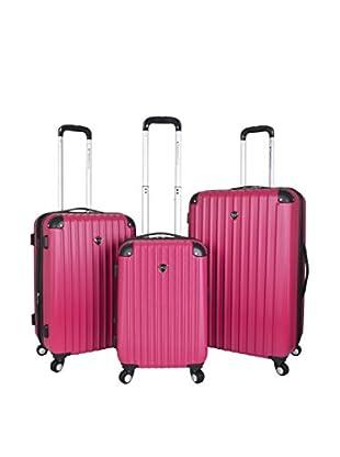 Travelers Club 3-Pc Abs Luggage Set W/360˚ 4X4 (8) Wheel System, Pink
