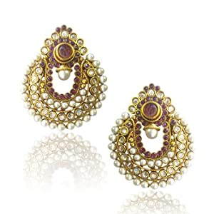 Earrings - Elegant Wine Coloured Pearl Polki Earrings by ADIVA ABCHI0BCD005
