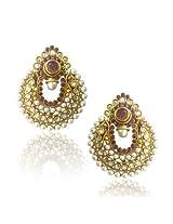 Earrings - Elegant Wine Coloured Pearl Polki Earrings by ADIVA ABCHI0BCD005