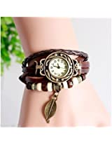 Leather Bracelet - Watch For Girls -- Multilayer Designer Vintage Classic watch (COFFEE BROWN)