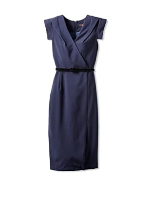 Single Women's The Wrap Victoria V-Neck Dress (Navy)