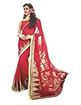 Red Color Georgette Saree with Border and Blouse 10612