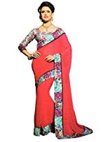 Shree Saree Women's Georgette Diva Saree With Blouse Piece (2005_Multi-Coloured)