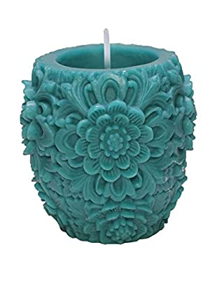 Volcanica Dendritic Vase Candle, Turquoise